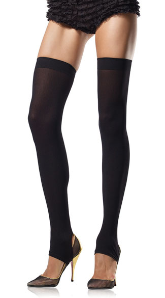 Opaque Stirrup Thigh High Stocking