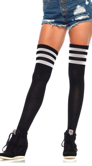 Athletic Ribbed Thigh Highs, 3 Stripe Thigh High, Sexy Ribbed Thigh High Stockings