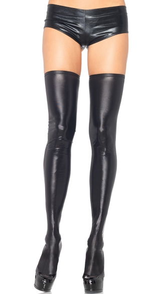 Wet Look Thigh Highs, Black Wet Look Thigh High Stockings, Black Vinyl Stockings