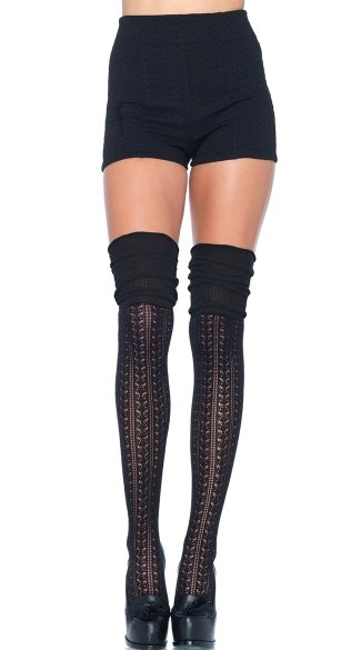 Cozy Patterned Thigh High Stockings, Thick Thigh High Patterned Socks, Patterned Fishnet Thigh High Stockings