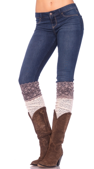 Crochet Knit Socks with Lace Top
