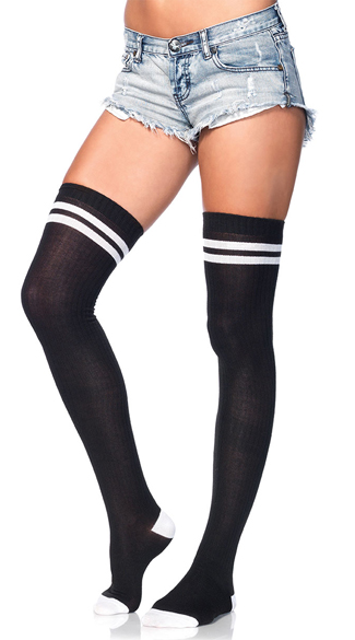 Ribbed Athletic Thigh High Stockings