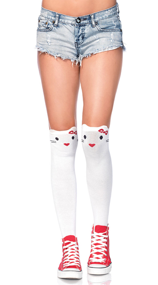 Goodbye Kitty Knee High Socks, Cute Kitten Socks, Socks With Cats, Cat Socks