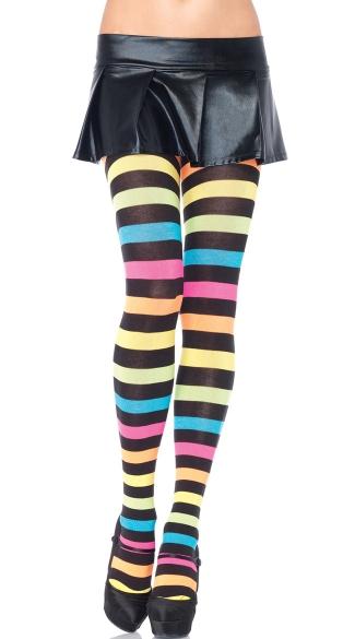 Rainbow And Black Striped Tights Rainbow Striped