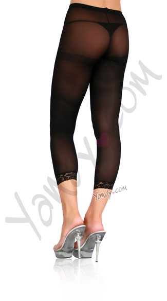Opaque Footless Tights W/ Lace Trim