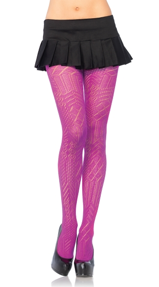 Colorful Art Deco Crochet Tights, Sexy Crochet Tights, Hot Crochet Tights