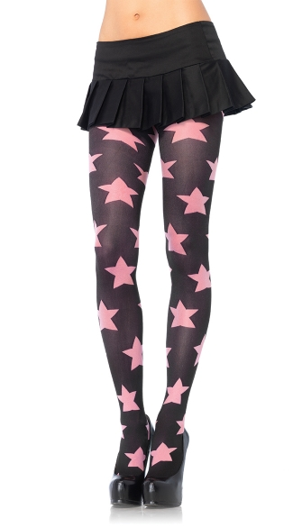 Pink Star Opaque Tights