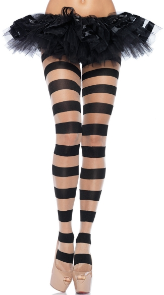 Stripped Pantyhose, Black Stripped Stockings, Patterned Pantyhose