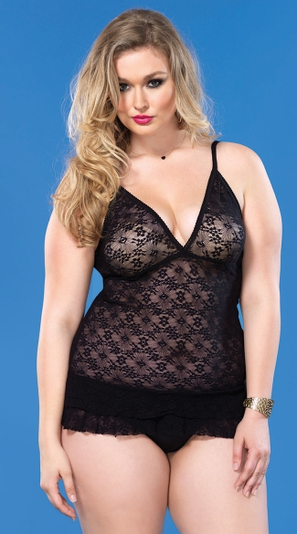 Plus Size Triangle Cup Lace Chemise with Ruffle Skirt