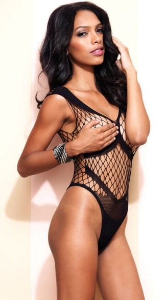 Seamless Diamond Net Teddy, Fishnet Thong Teddy