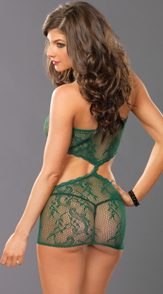 Lacy Fishnet Chemise with Cut-Outs