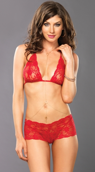 Red Lace Bra Top Set with Shorts and Body Jewelry, Lacy Bra Top Set with Chain Jewelry, Triangle Bra and Panty Set in Red Lace