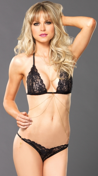 Sheer Black Lace Bra Top Set with Gold Body Jewelry