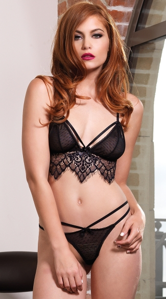 Chantilly Lace and Mesh Bra Set