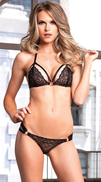 Black Lace Bra Set with O-Rings