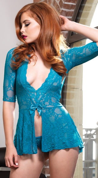 Teal Lace Flyaway Babydoll, Blue Lace Babydoll, Lace Flyaway Babydoll