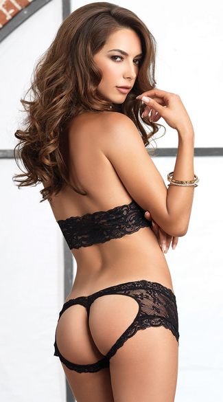 Lace Halter Bra and Open Back Panty