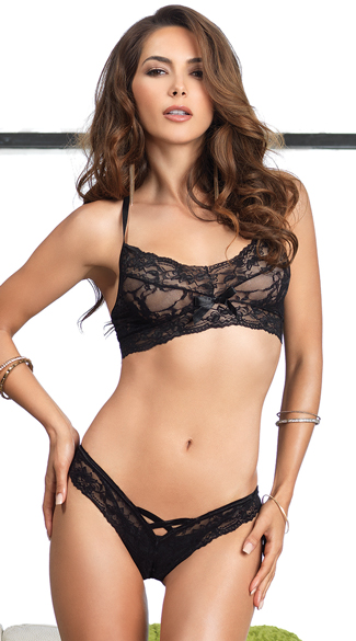 Lace Halter Bralette and Thong Set, Bralette and Matching Panty, Bra Sets