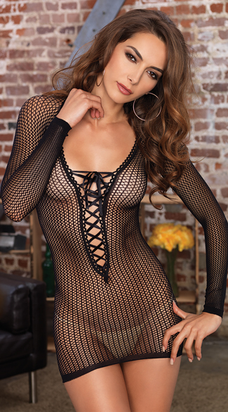 Long Sleeved Net Lace Up Mini Chemise, Fishnet Mini Dress, Club Dress
