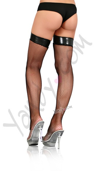 Fishnet Stocking With Vinyl Top