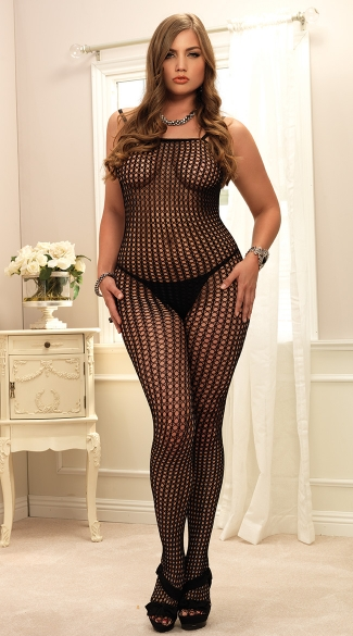 Plus Size Crochet Bodystocking, Plus Size Crochet Net Body Stocking