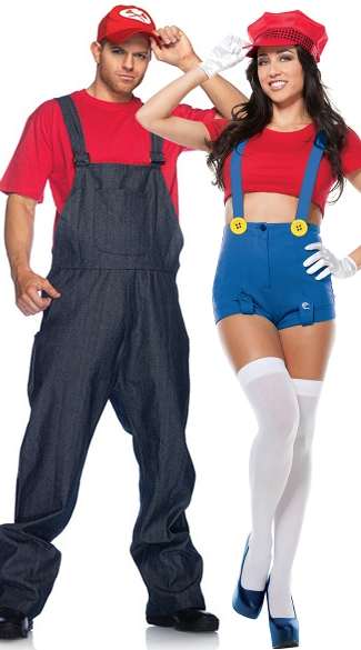 Red Plumbers Couples Costume, Video Game Couples Costumes, Red Mario Couples Costume