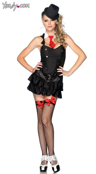 Mafia Princess Costume, Mafia Girl Costume, Womens Mobster Costume