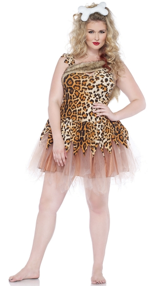Plus Size Cave Girl Cutie Costume, Plus Size Leopard Cave Woman Costume, Plus Size Cave Girl Costume