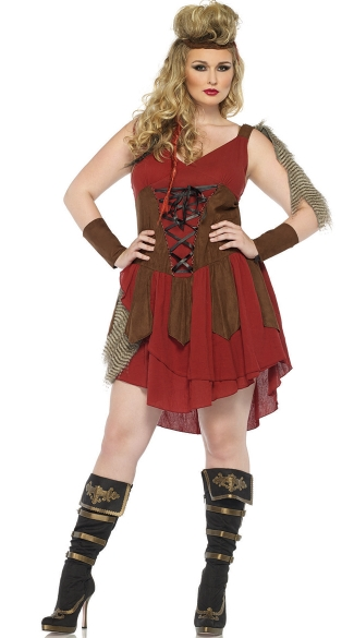 Plus Size Deadly Huntress Costume, Sexy Plus Size Hunter Costume, Plus Size Woman Hunter Costume