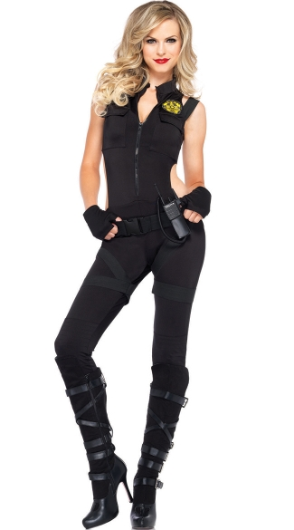 SWAT Girl Costume, SWAT Knockout Costume, SWAT Catsuit Costume