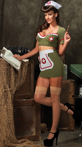 Sexy Army Green Nurse Costume