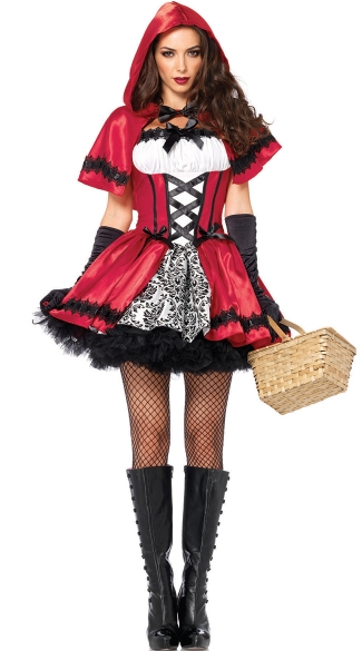 Glamorous Red Riding Hood Costume, Gothic Red Riding Hood Costume