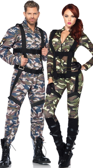 Paratroopers Couples Costume, Military Couples Costume, Couples Army Costumes, Couples Paratrooper Costume