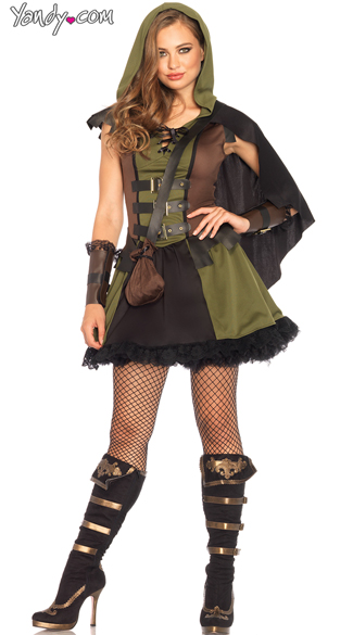 Darling Robin Hood Costume, Sexy Black and Dark Green Robin Hood Costume, Flirty Sherwood Hottie Costume