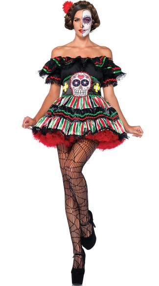 Dia De Los Beauty Costume, Day of the Dead Doll Costume