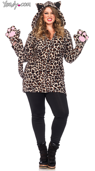 Cozy Leopard Hoodie, Fleece Leopard Faux Fur Jacket, Warm Cat Furry Hoodie