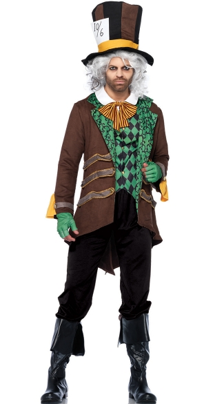 Men\'s Classic Hatter Costume, Mens Green Mad Hatter Costume