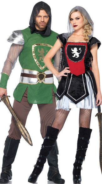 Medieval Knights Couples Costume, Green And Black Knights Couples Costume, Couples Knights Costume