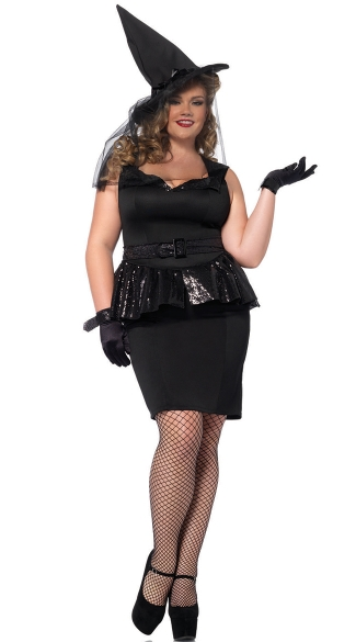 Plus Size Vintage Witch Costume, Plus Size Black Sequin Witch Costume