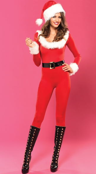 Sexy Santa Bodysuit with Belt, Skin Tight Red Holiday Bodysuit, Miss Santa Bodystocking