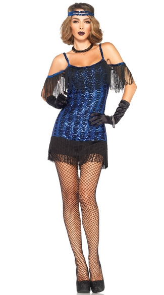 Glamour Girl Flapper Costume, Blue and Black Sequin Flapper Girl, Sexy Gatsby Girl Costume