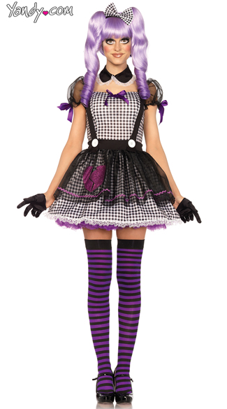 Dead Eye Dollie Costume, Sexy Dark Dollie Costume, Sexy Black and White Babydoll Costume