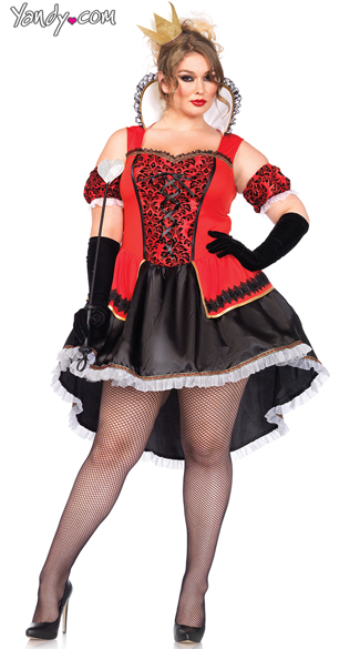 Plus Size Royally Sexy Queen Costume, Plus Size Red and Black Queen Of Hearts Costume, Plus Size High Collar Queen of Hearts Costume
