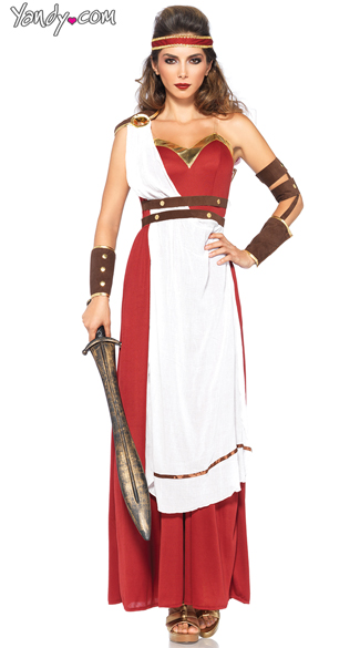 Spartan Goddess Costume, Warrior Princess Costume, Red and ...