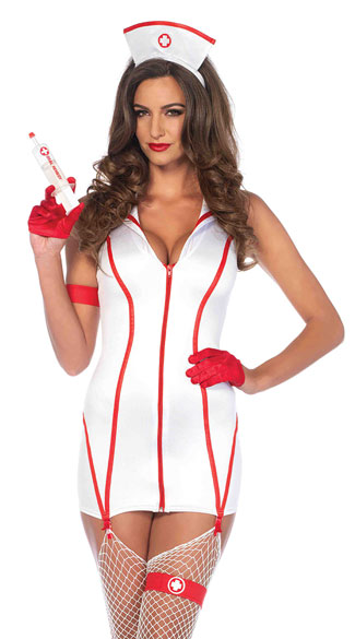 Heart Stoppin\' RN Costume, Sexy Faux Leather Black Nurse Costume, Seductive Dark Nurse Costume