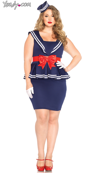 Plus Size Sailor Amy Costume, Plus Size Sexy Blue and Red Sailor Costume, Plus Size Sexy Skilled Sailor Costume