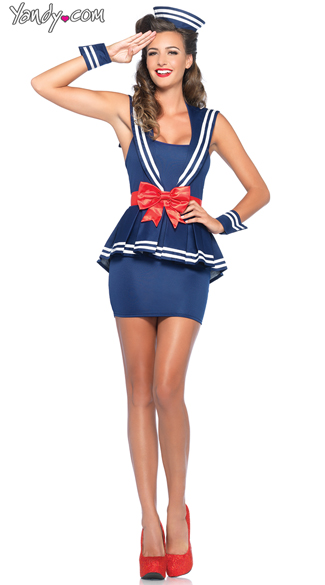 Sailor Amy Costume, Sexy Blue and Red Sailor Costume, Sexy Skilled Sailor Costume