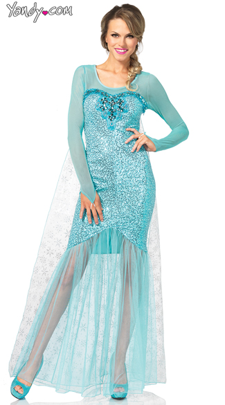 Fantasy Snow Queen Costume, Gorgeous Snow Queen Costume, Aqua Snow Queen Costume