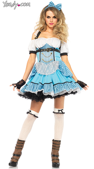 Rebel Alice Costume, Sexy Steampunk Alice Costume, Blue and White Stripped Alice Costume
