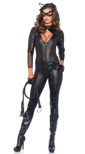Wicked Kitty Costume, Naughty Faux Leather Kitty Costume, Fishnet Cat Lady Costume